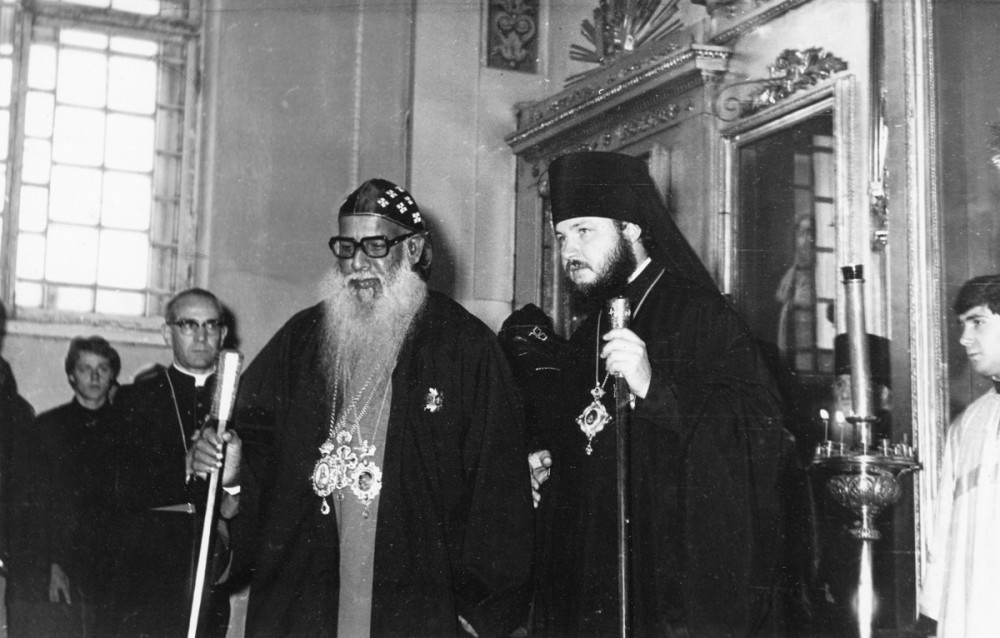 His Holiness Patriarch Kirill's 70th birthday.  Meeting of a foreign delegation at the Leningrad Spiritual Academy. 1970s.