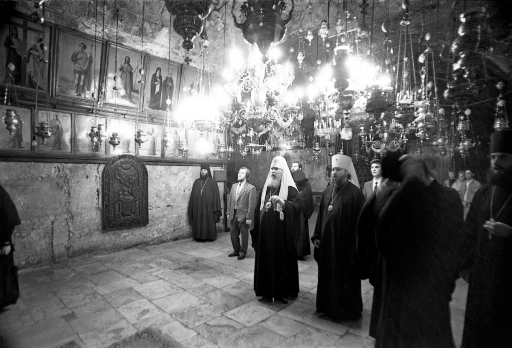 His Holiness Patriarch Kirill's 70th birthday.  During the visit of His Holiness Patriarch Alexei II to the Holy Land. May 1992.