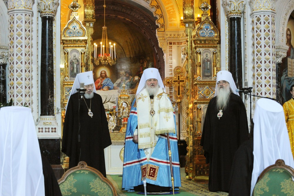 His Holiness Patriarch Kirill's 70th birthday.  Local Council of the Russian Orthodox Church. Election of Metropolitan Kirill of Smolensk and Kaliningrad to the patriarchal throne. Moscow, Christ the Savior Cathedral. January 27, 2009.
