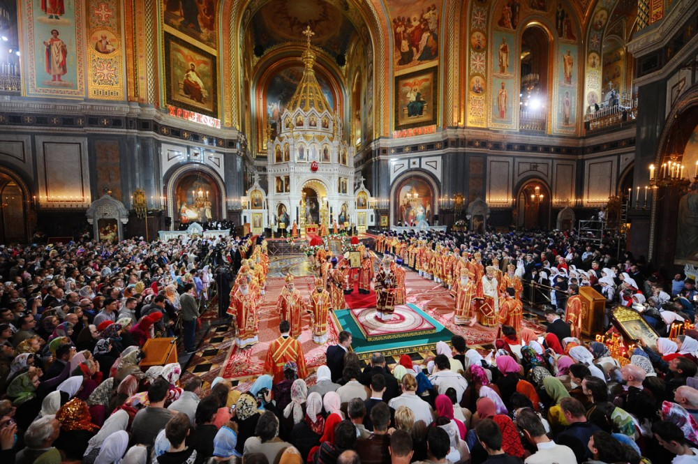 His Holiness Patriarch Kirill's 70th birthday.  Pascha. Moscow, Christ the Savior Cathedral. April 24, 2011.