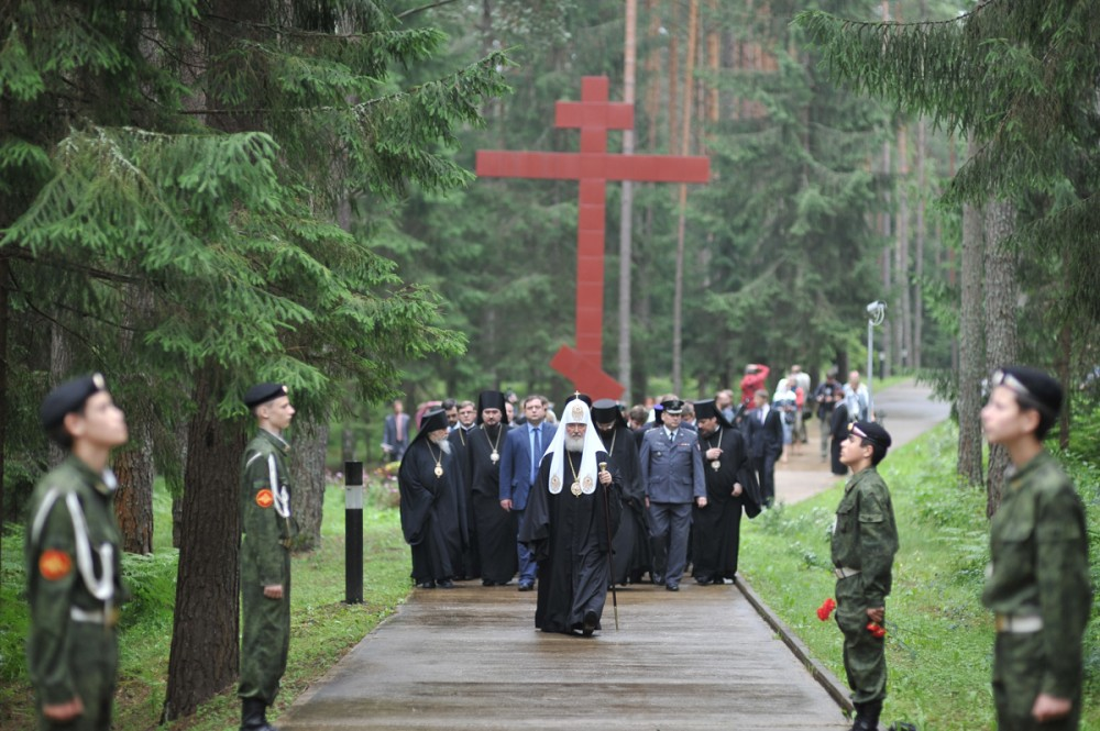 His Holiness Patriarch Kirill's 70th birthday.  Visit to the Katyn memorial complex. Smolensk region. July 2012.