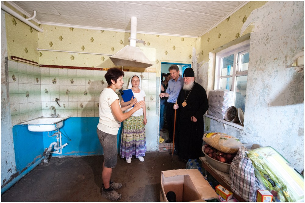 His Holiness Patriarch Kirill's 70th birthday.  Meeting with flood victims in Krymsk. July 23, 2012.