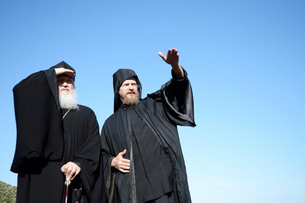 His Holiness Patriarch Kirill's 70th birthday.  Mt. Athos, Xilourgou Skete. June 6, 2013.