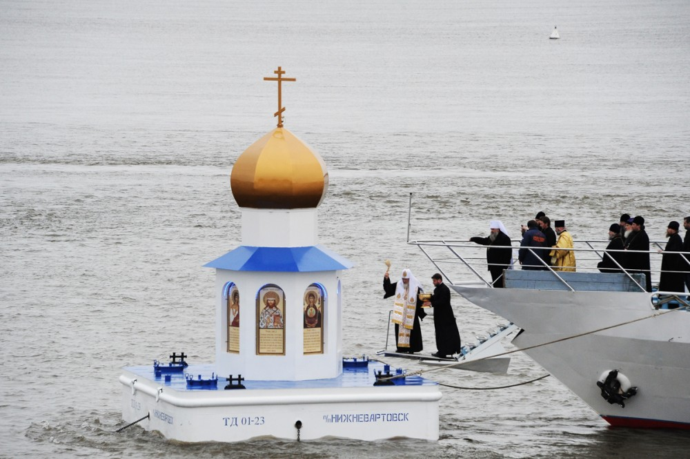 His Holiness Patriarch Kirill's 70th birthday.  Consecration of the floating chapel-lighthouse at the confluence of the Irtysh and Ob rivers, Khanty-Mansiysk autonomous region. September 19, 2013.