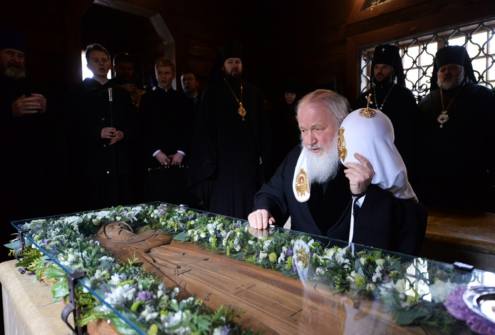 His Holiness Patriarch Kirill's 70th birthday.  Visit to the Kazan Church in Vyritsa on the 65th anniversary of the repose of St. Seraphim of Vyritsa. April 3, 2014.