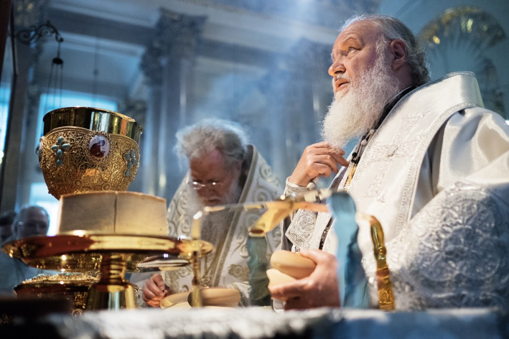 His Holiness Patriarch Kirill's 70th birthday.  Divine Liturgy with Patriarch Neofit of Bulgaria in the Kazan Cathedral in St. Petersburg. May 29, 2014.