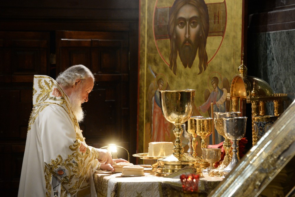 His Holiness Patriarch Kirill's 70th birthday.  Service in Moscow's Christ the Savior Cathedral. May 24, 2015.