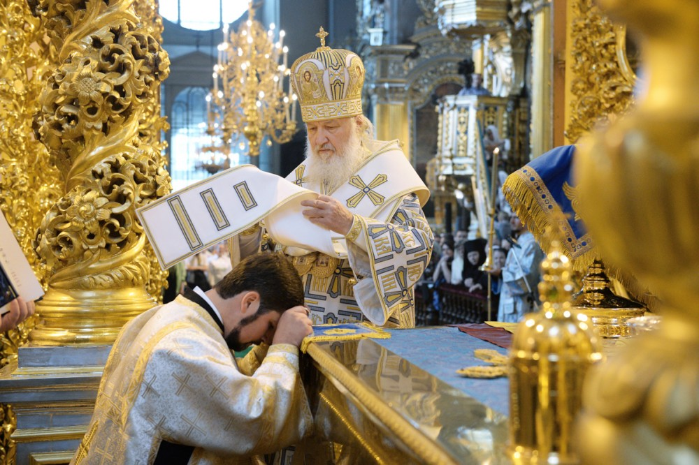 His Holiness Patriarch Kirill's 70th birthday.  Ordination to the priesthood in Smolensk's Dormition Cathedral. August 30, 2015.