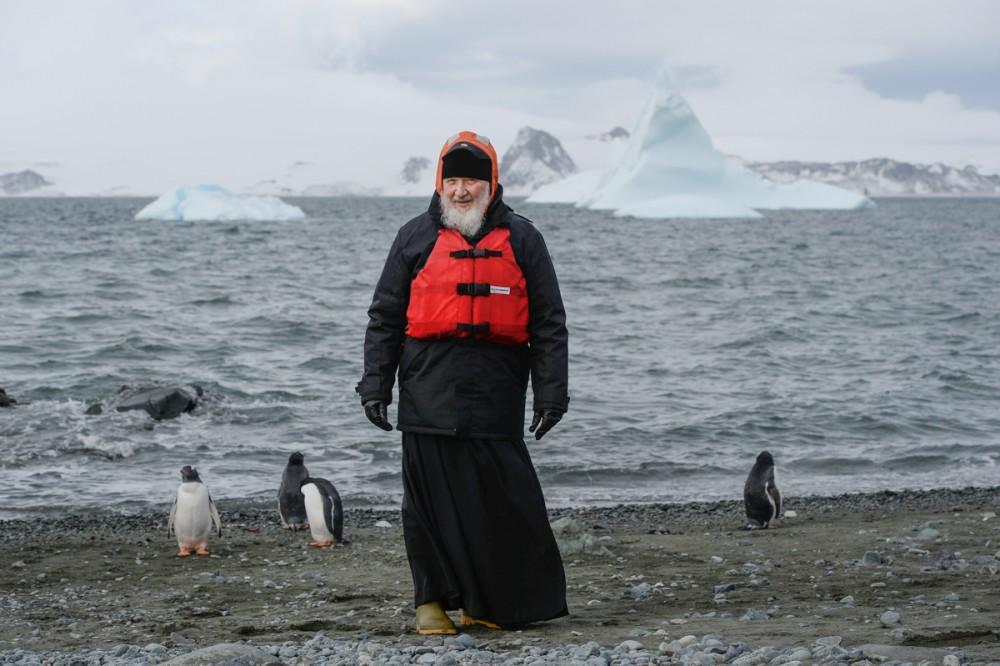 His Holiness Patriarch Kirill's 70th birthday.  Antarctica, Island of Waterloo. February 17, 2016.