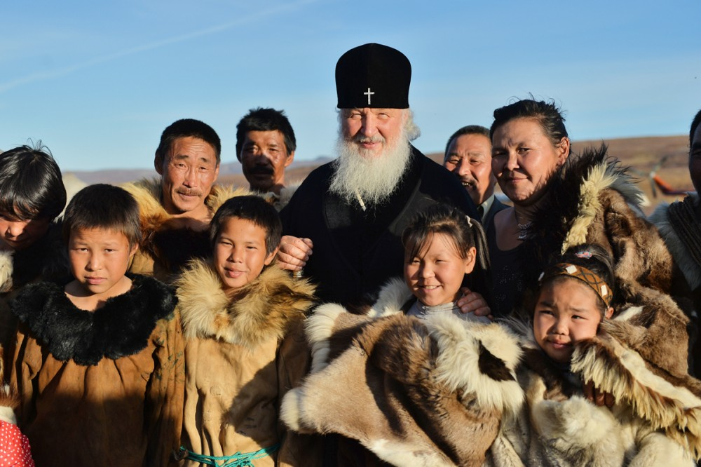 His Holiness Patriarch Kirill's 70th birthday.  Visit to the reindeer brigade. Kanchalan, Anadyr region, Chukotka autonomous region. September 7, 2016.