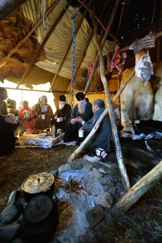 His Holiness Patriarch Kirill's 70th birthday.  Visit to the reindeer brigade. Kanchalan, Anadyr region, Chukotka autonomous region. September 7, 2016.