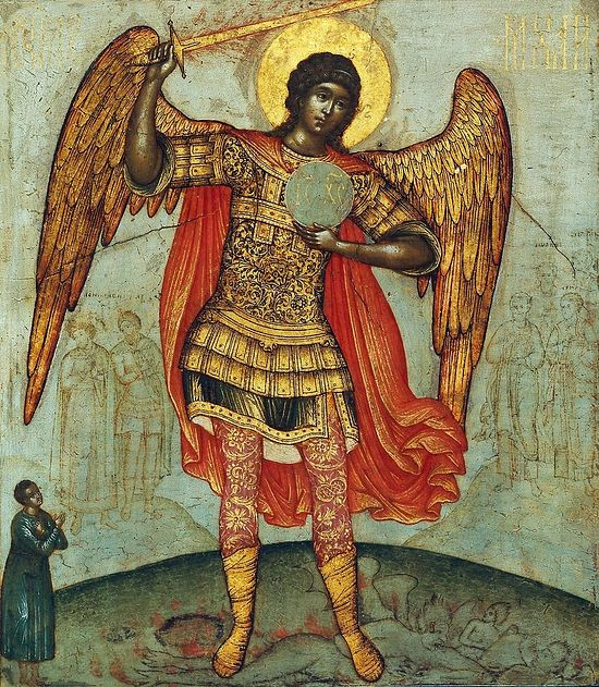 Archangel Michael trampling the devil. Simon Ushakov, 1676. Wood, tempera.