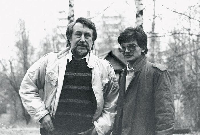 С поэтом Юрием Кублановским, 1990 г.