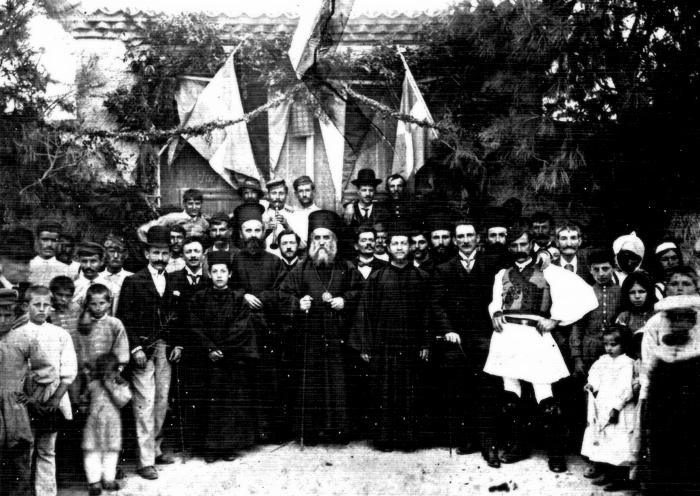 St. Nektarios with the faithful after Liturgy, Evia, 1893