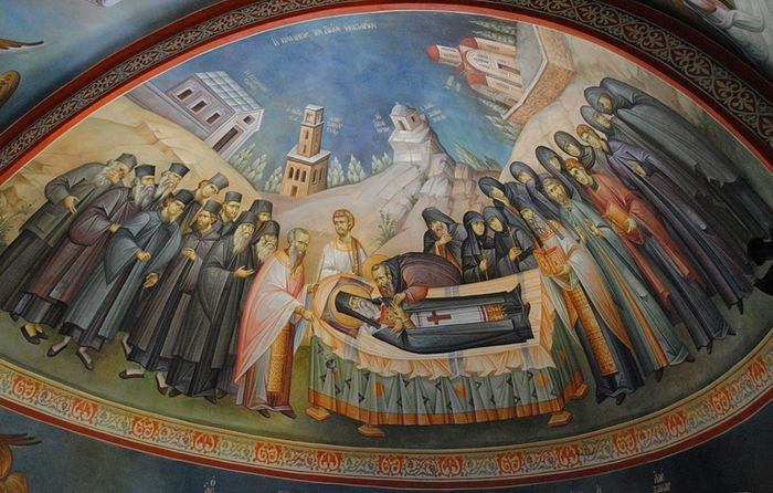 Farewell to St. Nektarios. Fresco