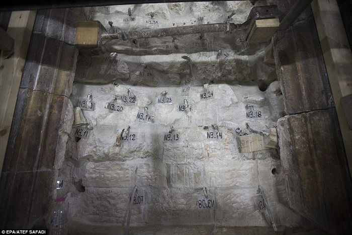 A view of the restoration works at the north wall of the tomb. The large archaeologist operation started on October as part of the conservation work in what believed to be the tomb of Jesus Christ