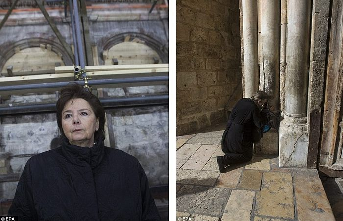 Antonia Moropoulou, professor at the National Technical University of Athens and the Chief Scientific Coordinator of the restoration project, shown left. A Christian pilgrim praying outside the Church, shown right