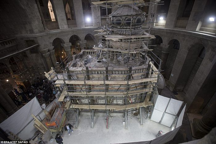 Work on restoration of the Edicule is expected to continue for at least the next five months. Broken or fragile pieces will be replaced and those sections which can be preserved will be cleaned, and the support structures reinforced