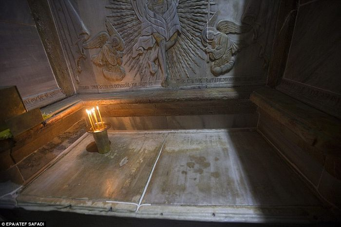 A view of the tomb of Jesus Christ. The researchers were shocked to find the second marble slab still intact when they opened up the tomb