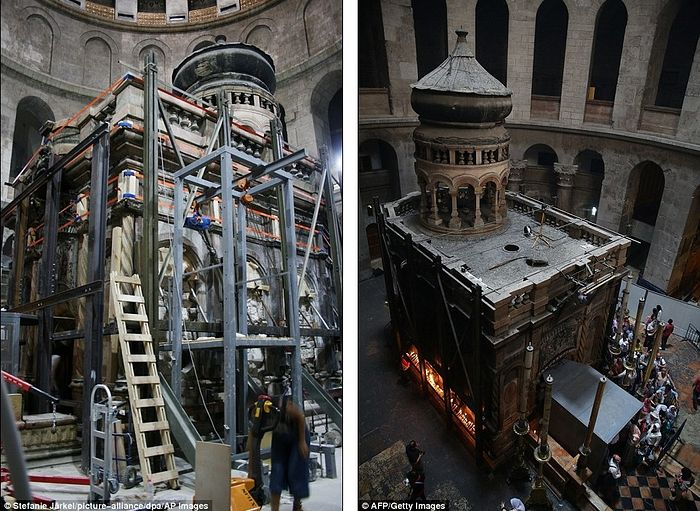 The original surface was exposed during the restoration work being done at the Church (left, in June, and right, in May)