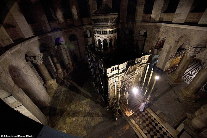 This photo shows what the tomb of Jesus in the Holy Sepulchre church has looked like for the past 200 years. It was last reconstructed in the early 19th century after a fire destroyed it. But repairs were long overdue as the structure it was damaged in an earthquake in 1927