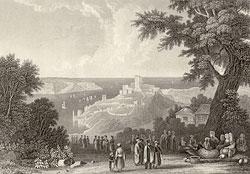 Вид на пролив Босфор со стороны Чёрного моря. Литография 1852 г.