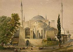 Константинополь. Храм Святой Софии (в XIX веке мечеть). Литография 1852 г.
