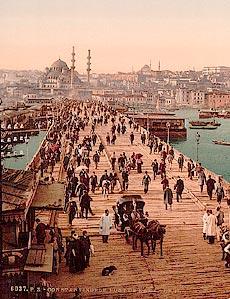Константинополь. Галатский мост. Открытка конца XIX века.