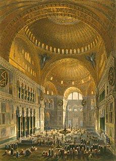 Константинополь. Храм Святой Софии, превращённый в мечеть. Литография 1852 г.
