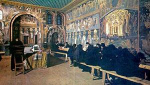 Трапеза в афонском монастыре.