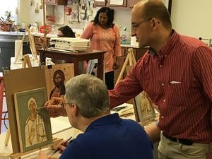 Philip Davydov, a Russian iconographer, teaches an iconography class at Wesley Theological Seminary, a United Methodist-affiliated school in Washington, D.C. Photo courtesy of Wesley Theological Seminary