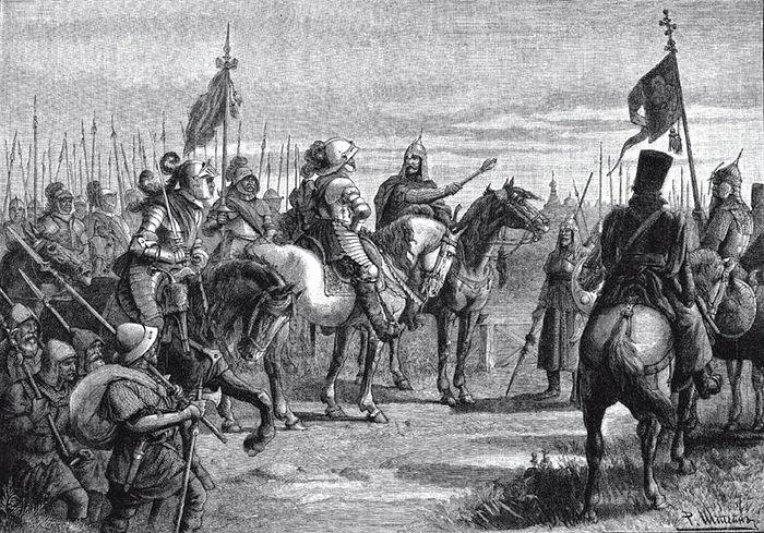 Князь Михаил Скопин-Шуйский встречает шведского воеводу Делагарди близ Новгорода