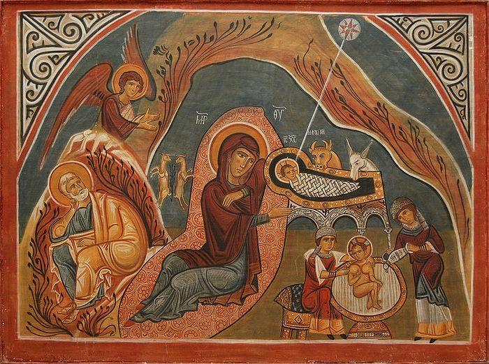 Рождество Христово. Копия фрески XII в. из пещерных храмов Каппадокии