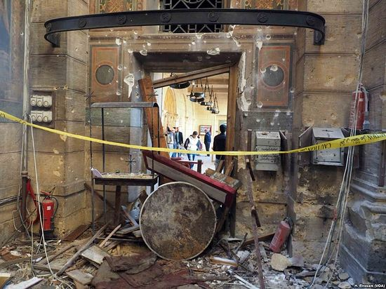 "Scene after the explosion inside the ""Botrosia"" church in Abbassya in Cairo, Egypt, Dec. 11, 2016."