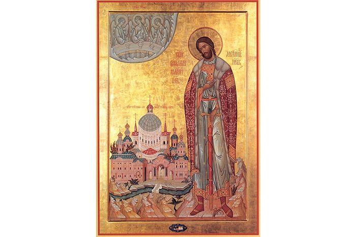 Святой благословленный князь Александр Невский, современная мироточивая икона
