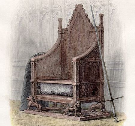 Stone of Scone and Coronation Chair at Westminster Abbey (engraving of the nineteenth century)