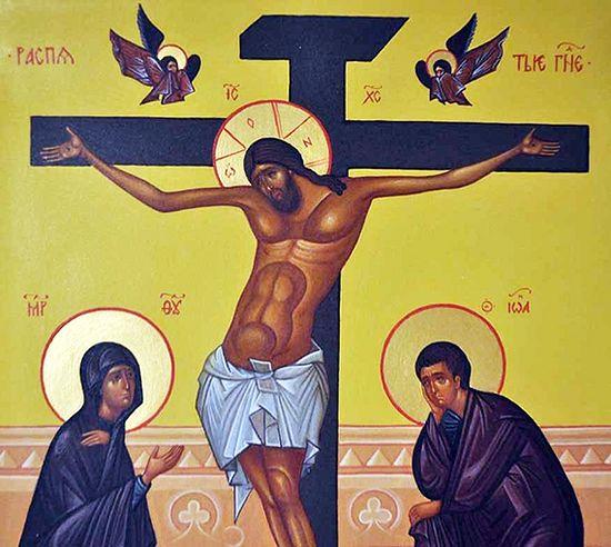 Распятие Христа. Фрагмент современной иконы