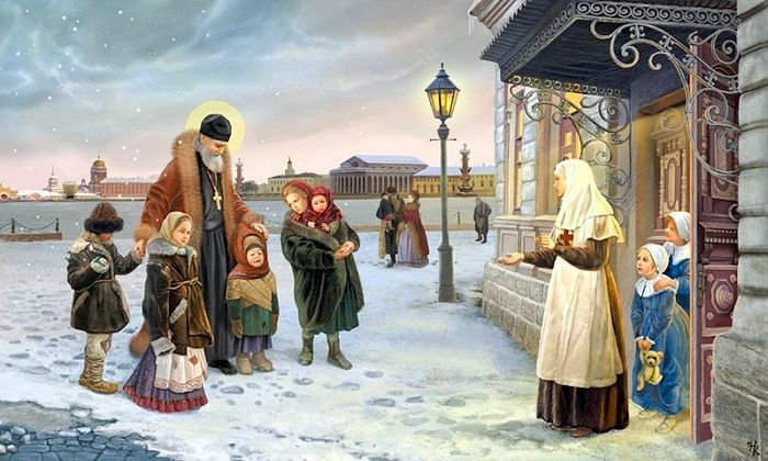 St. John of Kronstadt brings homeless children to the shelter.
