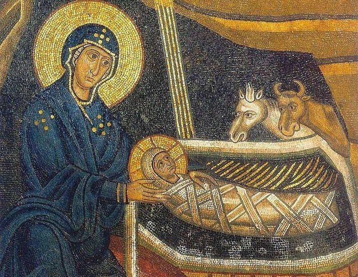 Фрагмент мозаики Рождество Христово. Монастырь Осиос Лукас, Греция.