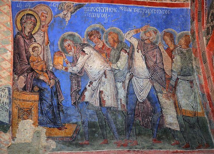 Поклонение волхвов. Фреска церкви Токали килисе в Гёреме. X-XI в. Каппадокия