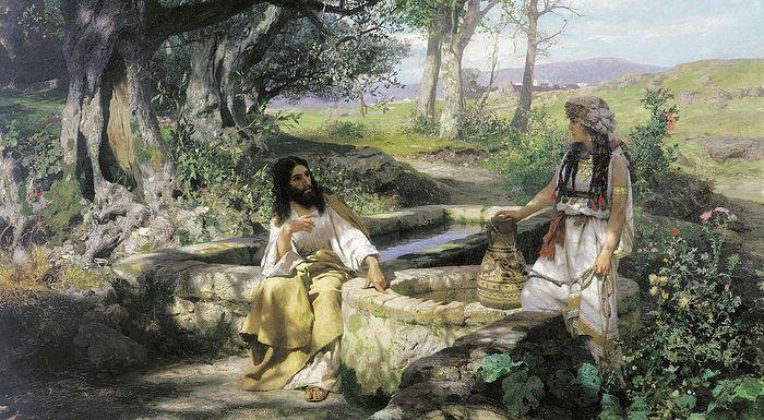 Христос у колодца разговаривает с самаритянкой. Г. И. Семирадский. Ок.1885 г.