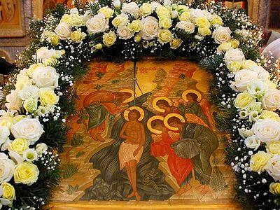 Богослужение в Сретенском монастыре в день праздника Крещения Господня