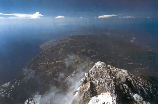 View of the holy peninsula and Aegeon from the peak of Mount Athos