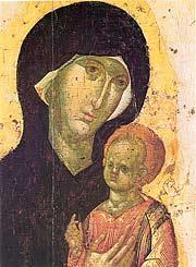Пименовская икона Божией Матери. Деталь иконы 14 в.