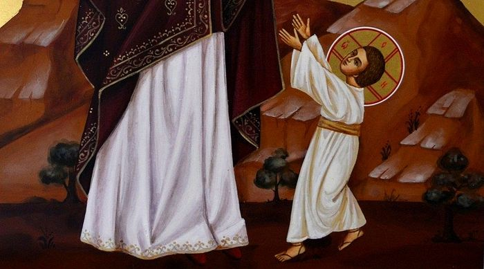Первые шаги Иисуса Христа. Рукописная икона. Фрагмент