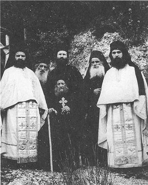 The synodia of Elder Joseph the Hesychast, Elder Ephraim on the far right. Photo: http://www.diakonima.gr/