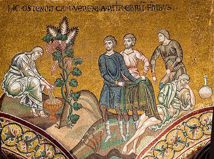 Noah making wine. The sin of Ham. Mosaic of the cathedral in Monreale, Sicily