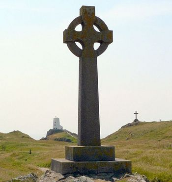 Modern Celtic cross in Llanddwyn, Wales