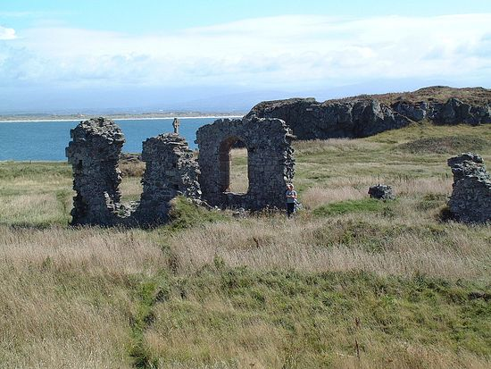 Ruins of St. Dwynwen's Church in Llanddwyn, Wales