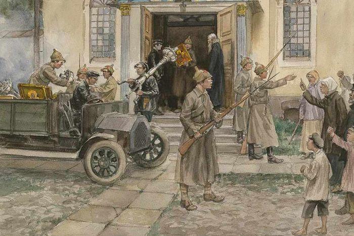 Изъятие церковных ценностей Рисунок Владимирова
